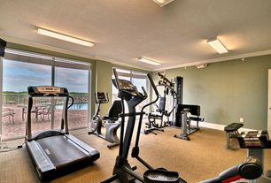 Traditional Home Gym with flush light, Carpet, Crown molding