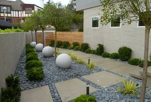 Contemporary Landscape/Yard with Fence, Gate, Pathway, Casement, exterior tile floors, Raised beds