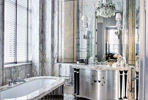 Eclectic Master Bathroom with Bathtub, European Cabinets, Chandelier, drop in bathtub, Standard height, Flush, drop-in sink