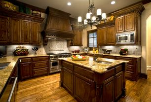 Traditional Kitchen with Raised panel, can lights, double oven range, Crown molding, Framed Partial Panel, single dishwasher