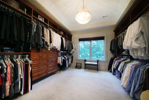 Traditional Closet with Carpet, Built-in bookshelf, flush light, Standard height, Crown molding, Casement