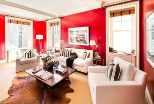 Contemporary Living Room with Carpet, Built-in bookshelf, Exposed beam