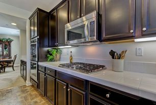 Traditional Kitchen with electric cooktop, One-wall, double wall oven, built-in microwave, Large Ceramic Tile, flush light