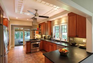 Craftsman Kitchen with Flat panel cabinets, limestone tile floors, Ceramic Tile, Breakfast nook, Flush, U-shaped, Ceiling fan