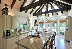 Eclectic Kitchen with Casement, Multiple Sinks, Fireplace, Exposed beam, Breakfast bar, Galley, gas cooktop, Raised panel