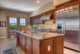 Traditional Kitchen with Limestone Tile, One-wall, Daltile castle metals aged copper clover dot, Breakfast nook, Raised panel