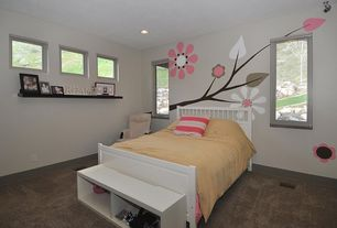 Modern Kids Bedroom with Casement, Carpet, can lights, no bedroom feature, Standard height, picture window