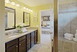 Master Bathroom with wall-mounted above mirror bathroom light, specialty door, Standard height, Undermount sink, Double sink