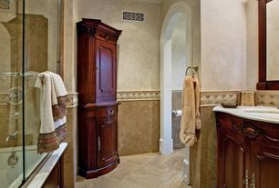 Traditional Full Bathroom with Limestone counters, Ms International Tuscany Ivory Travertine Tile, frameless showerdoor