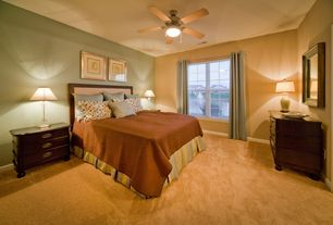 Modern Master Bedroom with Ceiling fan, Carpet, Thomasville upholstered headboard, flush light