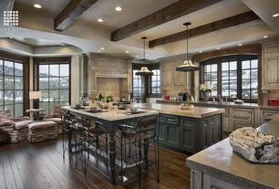 Eclectic Kitchen with Simple granite counters, Undermount sink, Breakfast bar, Kitchen island, Flat panel cabinets, Flush