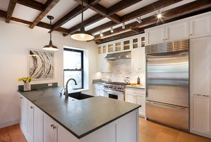 Contemporary Kitchen with Exposed beam, U-shaped, Soapstone counters, Pental black soapstone, Pendant light, Farmhouse sink