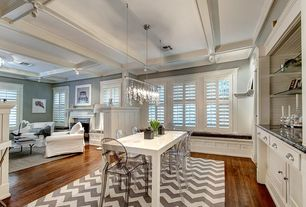 Transitional Kitchen with Window seat, One-wall, Safavieh Chatham Dark Gray and Ivory Chevron Area Rug 8x10, Flush