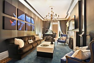Contemporary Living Room with Chandelier, Cement fireplace, High ceiling, Fireplace, double-hung window, Carpet