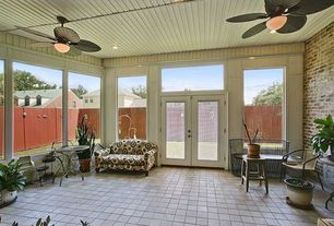 Traditional Porch with exterior stone floors, picture window, Transom window, French doors, Exposed brick, Screened porch