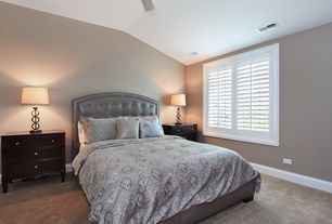 Traditional Guest Bedroom with High ceiling, Camellia 4 Drawer Nightstand by Wildon Home, Ceiling fan, Carpet