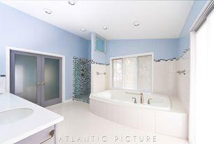 Traditional Master Bathroom with frameless showerdoor, Master bathroom, penny tile floors, partial backsplash, Double sink