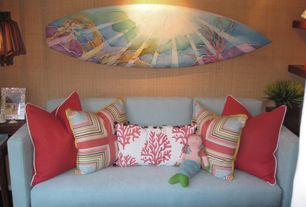 Tropical Guest Bedroom with interior wallpaper, Drew Brophy Custom Painted Surfboards, Custom Painted Surfboard Wall Art