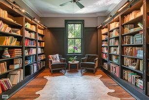 Contemporary Home Office with Alexander Home Rawhide Ivory Rug, Ceiling fan, Crown molding, Hardwood floors, flush light