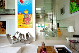 Contemporary Staircase with High ceiling, Glass staircase