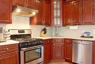 Craftsman Kitchen with Wall Hood, L-shaped, Framed Partial Panel, gas range, can lights, Raised panel, Standard height