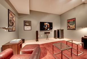 Traditional Home Theater with Standard height, Wall sconce, Carpet