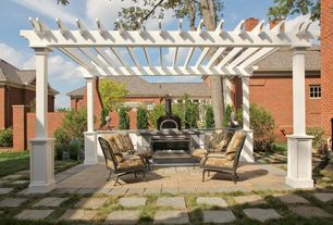 Traditional Patio with Fire pit, Trellis, exterior tile floors, Pathway, outdoor pizza oven