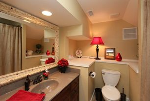 Traditional Powder Room with Flat panel cabinets, Simple Granite, Simple granite counters, Flush