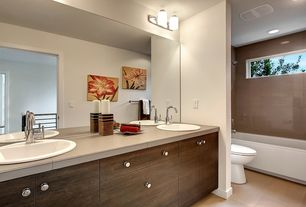 Contemporary Full Bathroom with Double sink, Full Bath, Freestanding, shower bath combo, Shower, Flush, picture window