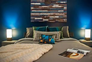 Contemporary Master Bedroom with Distressed reclaimed wood wall art sculpture painting, 2modern devo square lamp