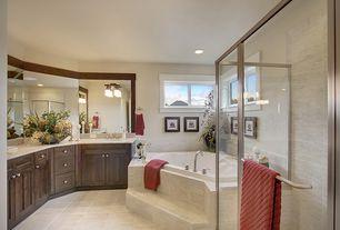 Craftsman Master Bathroom with Simple Granite, Flat panel cabinets, Sea Gull Lighting - 2 Light Newport Bathroom Light, Flush