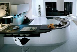 Modern Kitchen with Soapstone counters, Island Hood, Multiple Sinks, Quartz countertops, electric cooktop, Flush, Glass panel