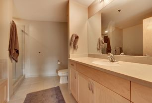 Contemporary Full Bathroom with Flush, Wall Tiles, Standard height, Paint 2, Limestone, Limestone counters, stone tile floors