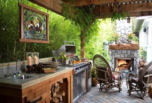 Rustic Porch with Trellis, Outdoor kitchen, Willow Chair, How to Grow Bamboo, exterior stone floors, outdoor pizza oven