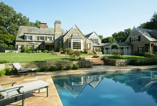 Cottage Exterior of Home with Fence, double-hung window, Grass, Lawn, Outdoor pool, Inground pool, exterior stone floors