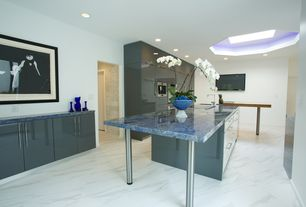 Contemporary Kitchen with Undermount sink, U-shaped, Destiny: acrilux cabinets, Kitchen island, Skylight, European Cabinets