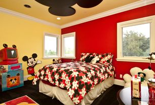 Modern Kids Bedroom with Fresh ideas tailored bed skirt, Crown molding, Carpet, Classic mickey mouse pillow