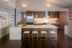 Contemporary Kitchen with One-wall, Wall Hood, Built In Refrigerator, Flush, Exposed beam, European Cabinets, can lights