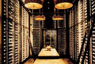 Contemporary Wine Cellar with High ceiling, Woodland Imports Party Planner Ice & Wine Bucket, Carpet, Built-in bookshelf