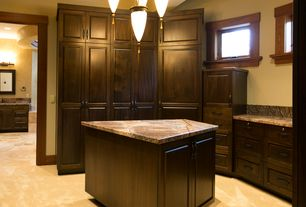 Craftsman Closet with sandstone floors, Chandelier
