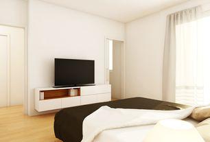 Modern Master Bedroom with Built-in bookshelf, Hardwood floors