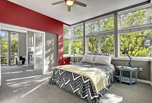Traditional Master Bedroom with Casement, sliding glass door, picture window, Carpet, Ceiling fan, Standard height