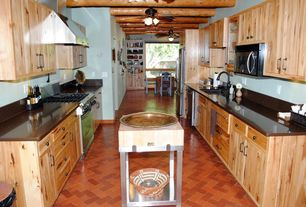 Rustic Kitchen with Standard height, Soapstone counters, U-shaped, Exposed beam, dishwasher, Flush, partial backsplash