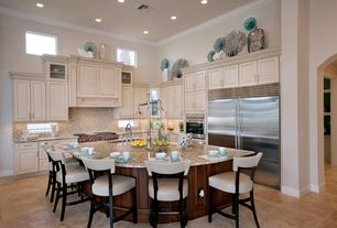 Traditional Kitchen with Crown molding, Simple granite counters, Raised panel, Undermount sink, Ceramic Tile, Glass panel
