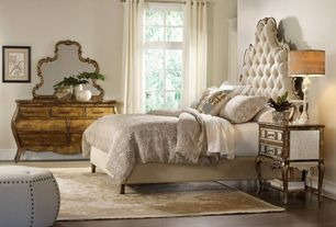 Traditional Master Bedroom with Horchow Bristol Tufted Headboard, Laminate floors