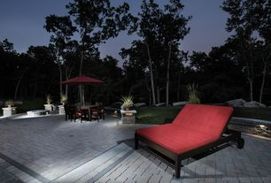Contemporary Patio with Fire pit, Pathway, Double chaise lounge, exterior stone floors