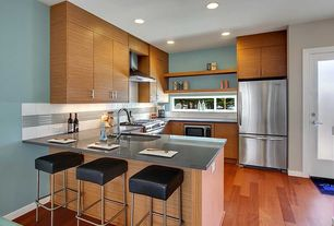 "Contemporary Kitchen with Breakfast bar, Large Ceramic Tile, Flush, Mullican Flooring Maple Caramel 1/2"" Thick 5"" Wide"