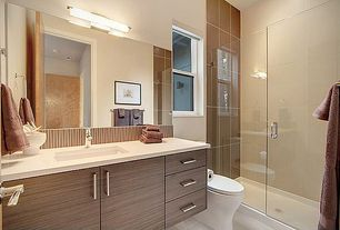 Contemporary 3/4 Bathroom with Flush, Shower, Standard height, stone tile floors, Undermount sink, European Cabinets