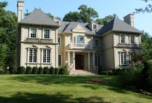 Traditional Exterior of Home with Concrete Balustrade, Raised beds, Neoclassical style