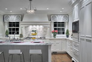 Traditional Kitchen with Complex Marble, Undermount sink, Breakfast bar, Flat panel cabinets, L-shaped, Custom hood, Flush